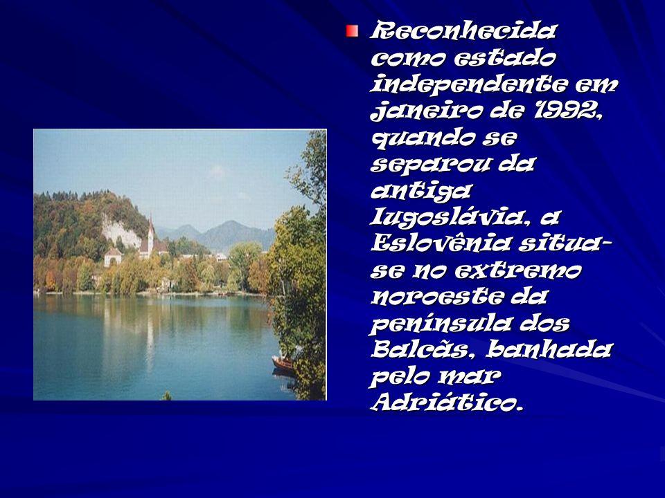 Reconhecida como estado independente em janeiro de 1992, quando se separou da antiga Iugoslávia, a Eslovênia situa- se no extremo noroeste da penínsul