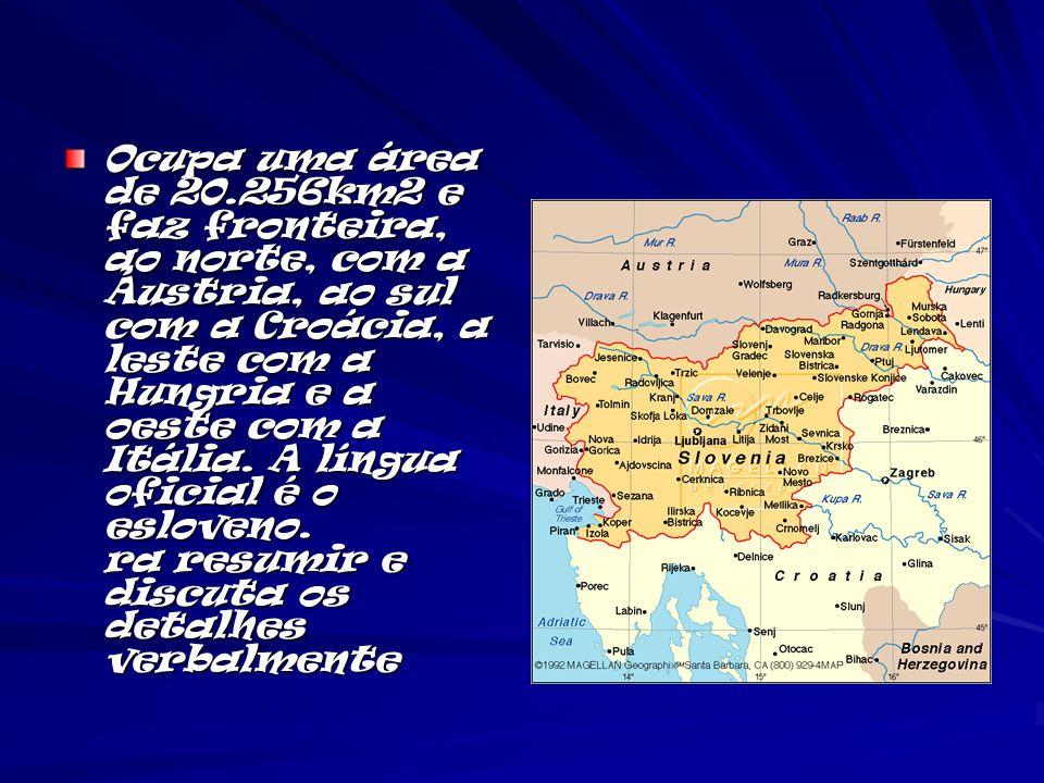 Ocupa uma área de 20.256km2 e faz fronteira, ao norte, com a Áustria, ao sul com a Croácia, a leste com a Hungria e a oeste com a Itália. A língua ofi