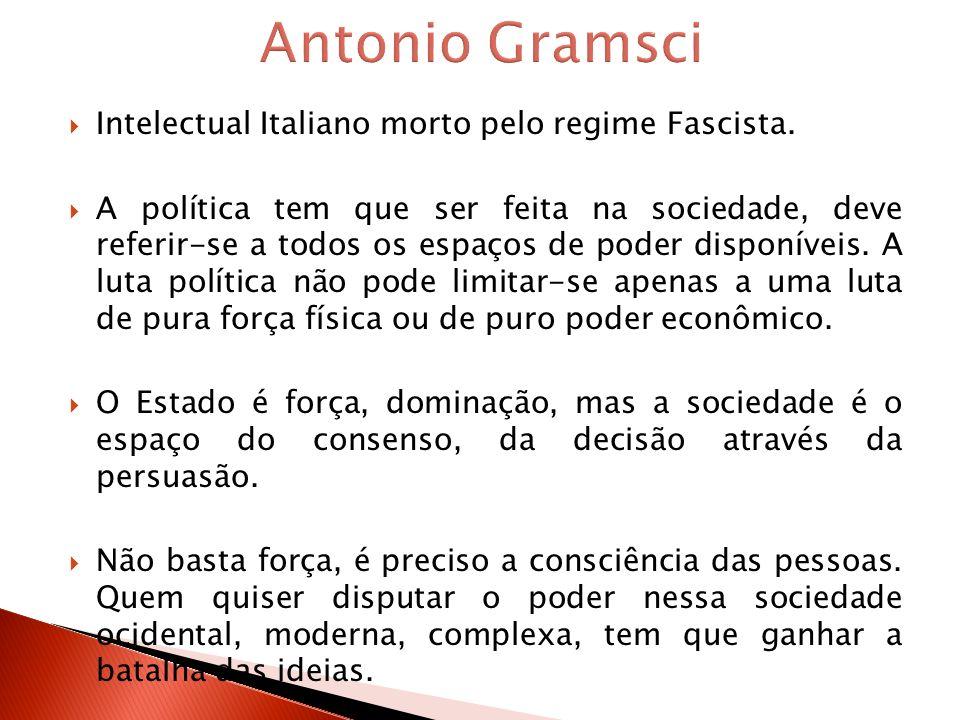 Intelectual Italiano morto pelo regime Fascista. A política tem que ser feita na sociedade, deve referir-se a todos os espaços de poder disponíveis. A