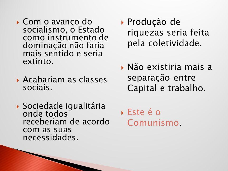 Com o avanço do socialismo, o Estado como instrumento de dominação não faria mais sentido e seria extinto. Acabariam as classes sociais. Sociedade igu