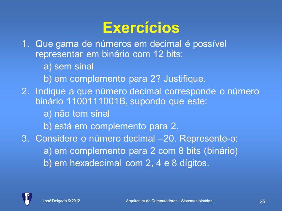 Arquitetura de Computadores – Sistemas binários 24 José Delgado © 2012 Cálculo de potências de 2 Potência 2DecomposiçãoOu seja…Resultado 2 12 1K * 42