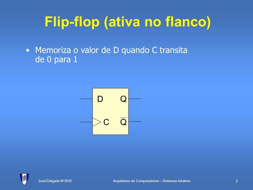 Arquitetura de Computadores – Sistemas binários 6 José Delgado © 2012 Flip-flop CQ 0Mantém estado 1D (transparente) Q Q S R C D 1 0 D C Q