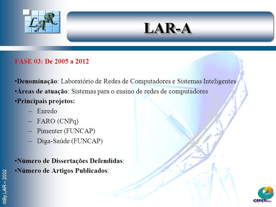 By LAR – 2002 LAR-ALAR-A FASE 04: 2013 A partir de 2013 o LAR tornou-se especialista no uso de redes e sistemas inteligentes na área de Saúde, atendendo aos interesses de implantação do Projeto CexSUS.