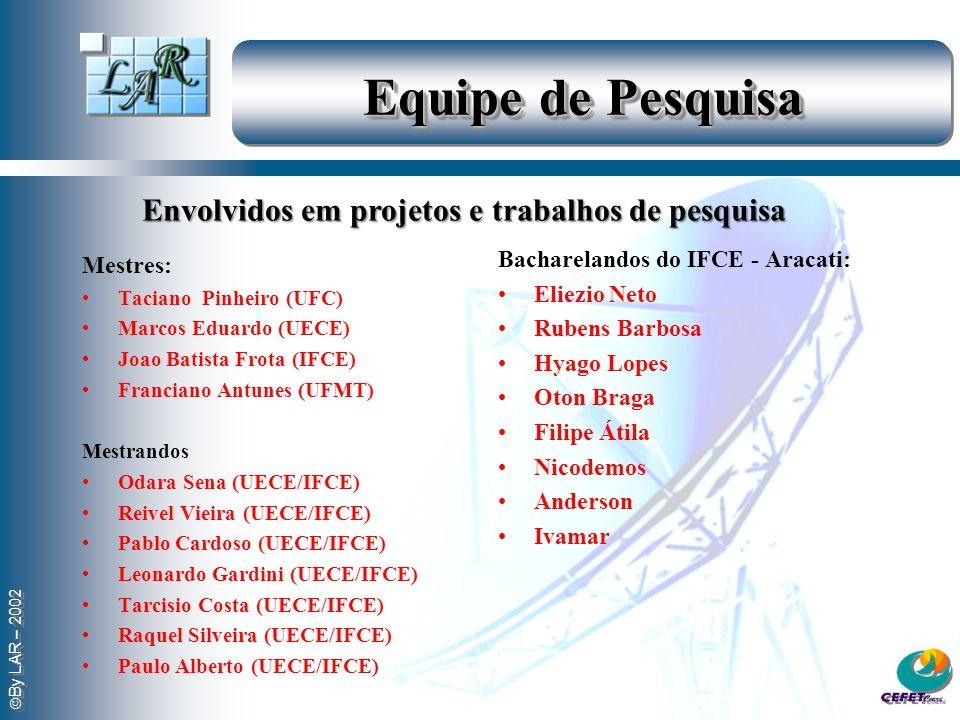 By LAR – 2002 Equipe de Pesquisa Mestres: Taciano Pinheiro (UFC) Marcos Eduardo (UECE) Joao Batista Frota (IFCE) Franciano Antunes (UFMT) Mestrandos Odara Sena (UECE/IFCE) Reivel Vieira (UECE/IFCE) Pablo Cardoso (UECE/IFCE) Leonardo Gardini (UECE/IFCE) Tarcisio Costa (UECE/IFCE) Raquel Silveira (UECE/IFCE) Paulo Alberto (UECE/IFCE) Bacharelandos do IFCE - Aracati: Eliezio Neto Rubens Barbosa Hyago Lopes Oton Braga Filipe Átila Nicodemos Anderson Ivamar Envolvidos em projetos e trabalhos de pesquisa