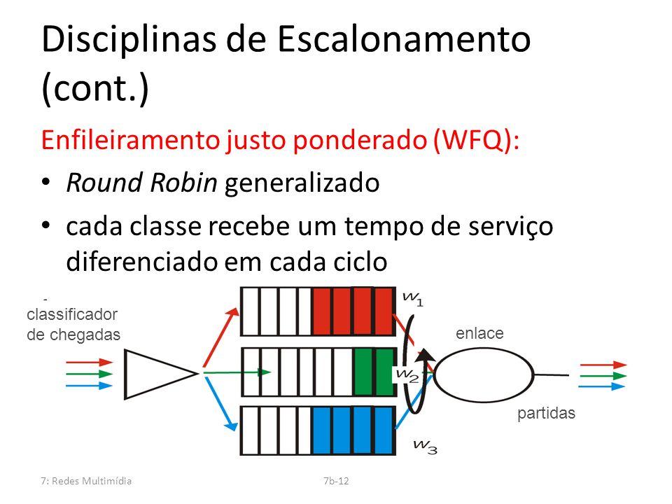 7: Redes Multimídia7b-12 Disciplinas de Escalonamento (cont.) Enfileiramento justo ponderado (WFQ): Round Robin generalizado cada classe recebe um tem