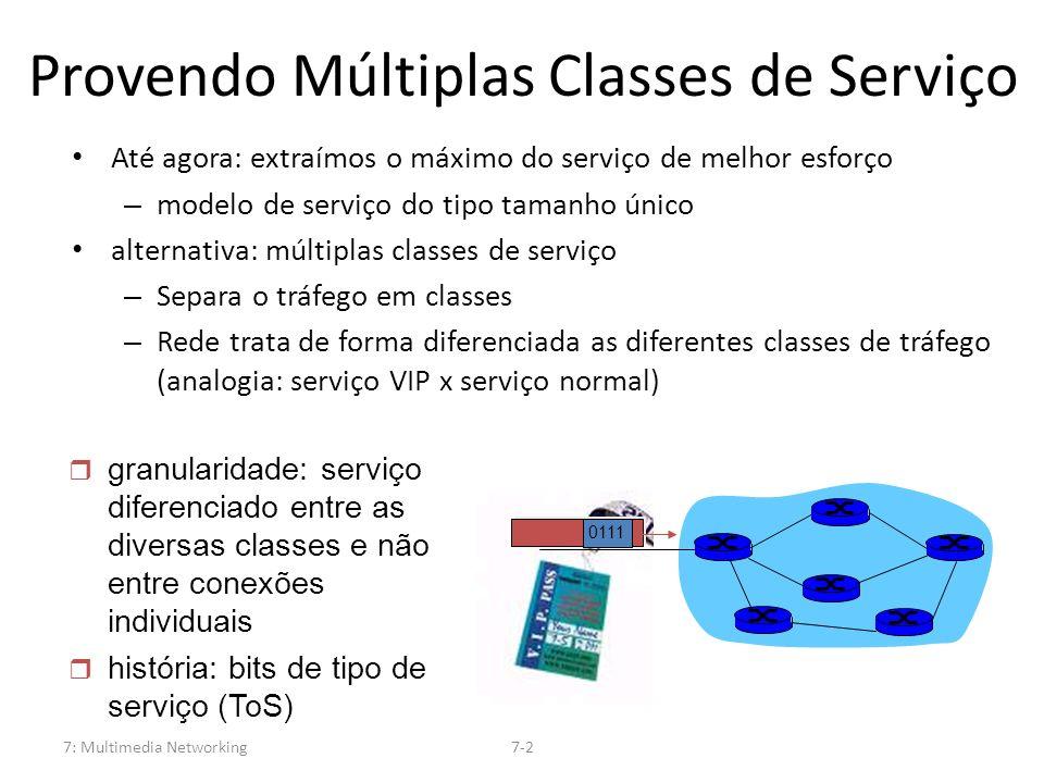 7: Multimedia Networking7-2 Provendo Múltiplas Classes de Serviço Até agora: extraímos o máximo do serviço de melhor esforço – modelo de serviço do ti