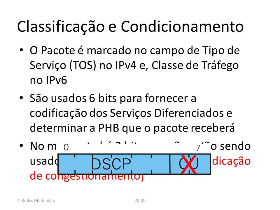 7: Redes Multimídia7b-20 Classificação e Condicionamento O Pacote é marcado no campo de Tipo de Serviço (TOS) no IPv4 e, Classe de Tráfego no IPv6 São