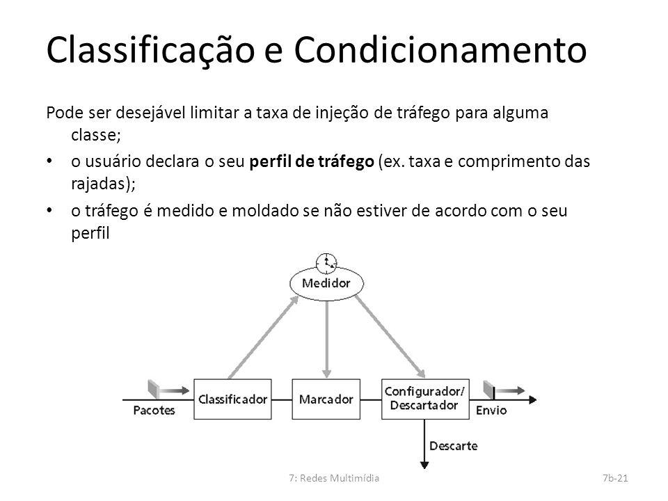 7: Redes Multimídia7b-21 Classificação e Condicionamento Pode ser desejável limitar a taxa de injeção de tráfego para alguma classe; o usuário declara