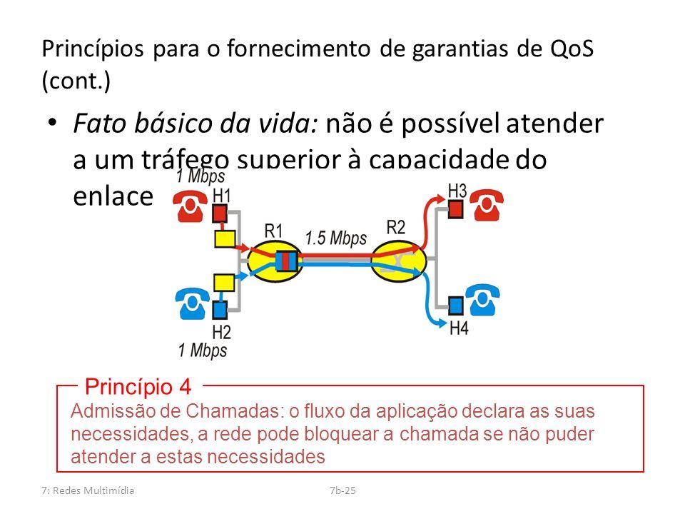 7: Redes Multimídia7b-25 Princípios para o fornecimento de garantias de QoS (cont.) Fato básico da vida: não é possível atender a um tráfego superior