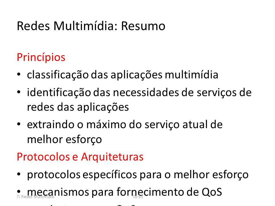Redes Multimídia: Resumo Princípios classificação das aplicações multimídia identificação das necessidades de serviços de redes das aplicações extrain