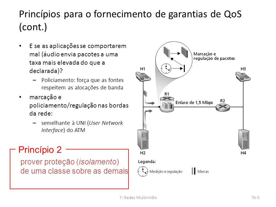 7: Redes Multimídia7b-5 Princípios para o fornecimento de garantias de QoS (cont.) E se as aplicações se comportarem mal (áudio envia pacotes a uma ta