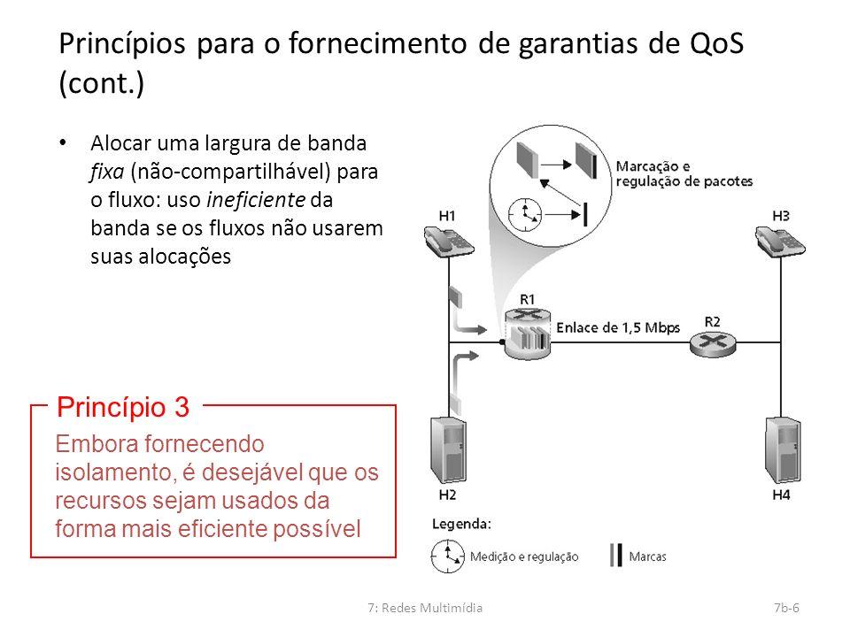 7: Redes Multimídia7b-6 Princípios para o fornecimento de garantias de QoS (cont.) Alocar uma largura de banda fixa (não-compartilhável) para o fluxo: