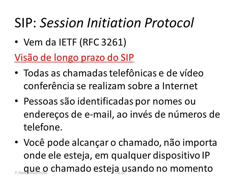 7: Redes Multimídia7a-20 SIP: Session Initiation Protocol Vem da IETF (RFC 3261) Visão de longo prazo do SIP Todas as chamadas telefônicas e de vídeo