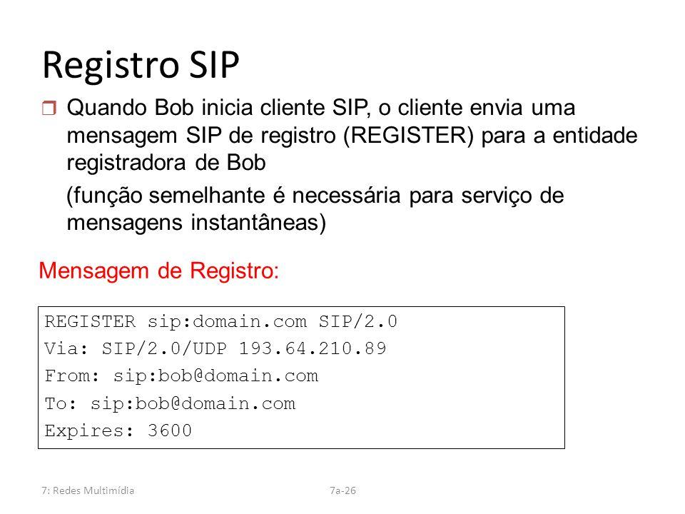 7: Redes Multimídia7a-26 Registro SIP REGISTER sip:domain.com SIP/2.0 Via: SIP/2.0/UDP 193.64.210.89 From: sip:bob@domain.com To: sip:bob@domain.com E