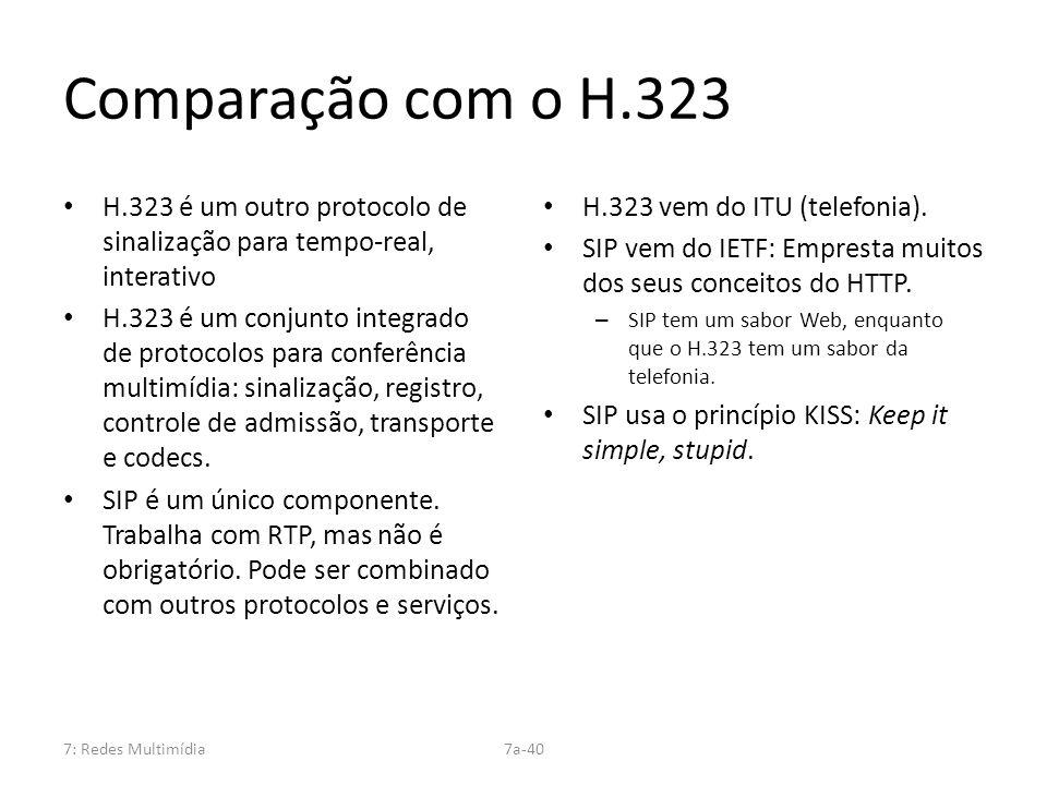 7: Redes Multimídia7a-40 Comparação com o H.323 H.323 é um outro protocolo de sinalização para tempo-real, interativo H.323 é um conjunto integrado de