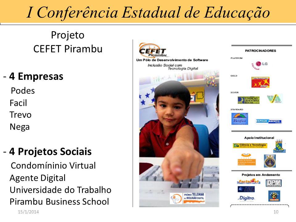 15/1/201410 I Conferência Estadual de Educação Projeto CEFET Pirambu - 4 Empresas Podes Facil Trevo Nega - 4 Projetos Sociais Condomíninio Virtual Age