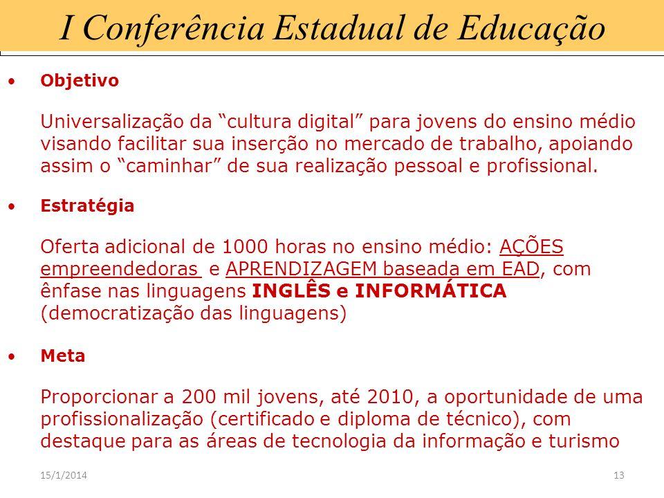 15/1/201413 I Conferência Estadual de Educação Objetivo Universalização da cultura digital para jovens do ensino médio visando facilitar sua inserção