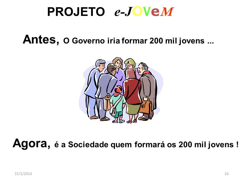 15/1/201424 PROJETO e-J O V e M Antes, O Governo iria formar 200 mil jovens... Agora, é a Sociedade quem formará os 200 mil jovens !