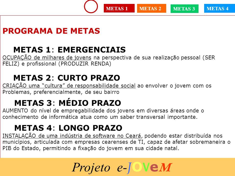 15/1/201435 PROGRAMA DE METAS METAS 1: EMERGENCIAIS OCUPAÇÃO de milhares de jovens na perspectiva de sua realização pessoal (SER FELIZ) e profissional
