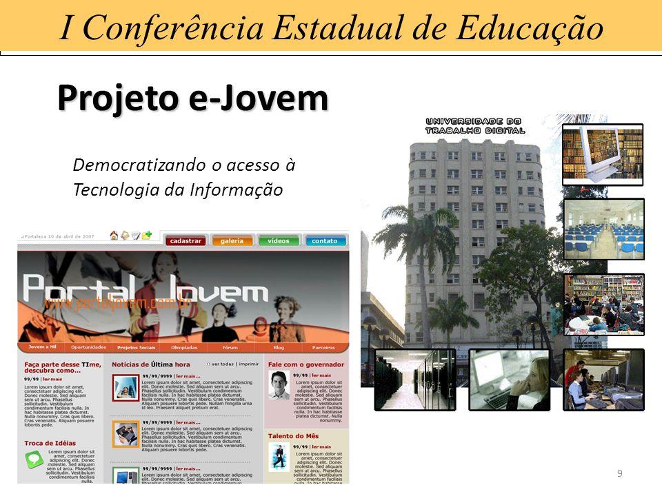 15/1/20149 I Conferência Estadual de Educação Projeto e-Jovem Democratizando o acesso à Tecnologia da Informação