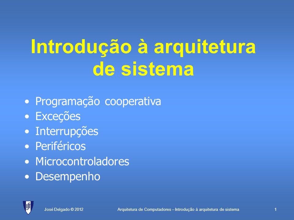 Arquitetura de Computadores – Introdução à arquitetura de sistema1José Delgado © 2012 Introdução à arquitetura de sistema Programação cooperativa Exce