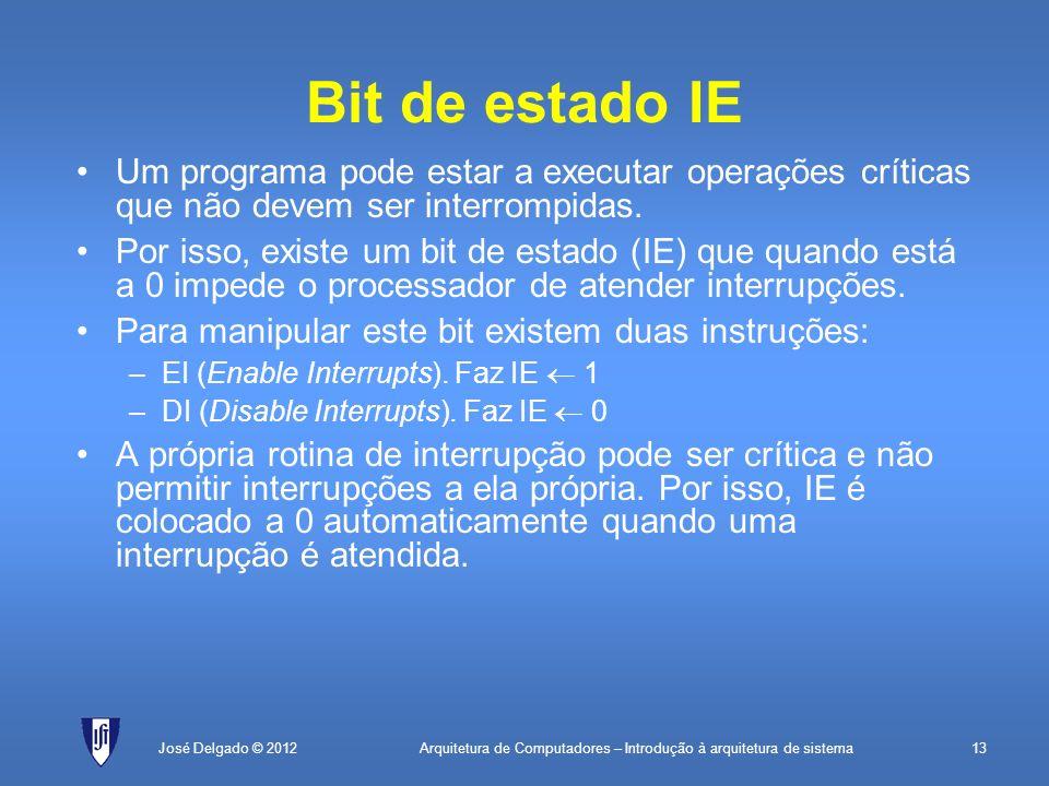 Arquitetura de Computadores – Introdução à arquitetura de sistema13José Delgado © 2012 Bit de estado IE Um programa pode estar a executar operações cr