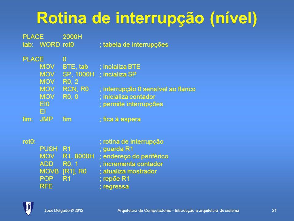 Arquitetura de Computadores – Introdução à arquitetura de sistema21José Delgado © 2012 Rotina de interrupção (nível) PLACE2000H tab:WORDrot0; tabela d