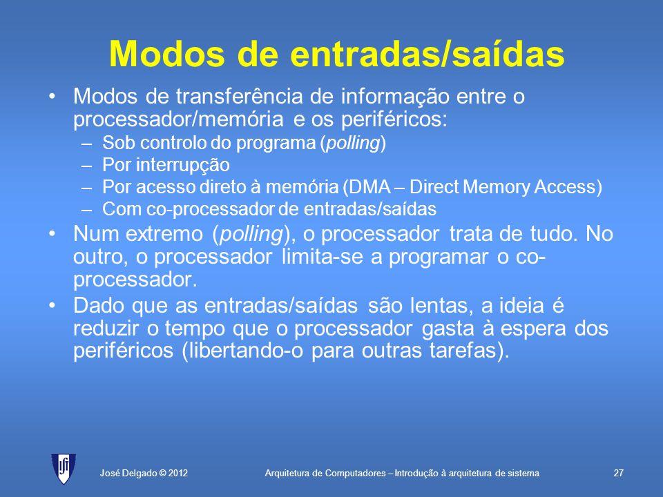 Arquitetura de Computadores – Introdução à arquitetura de sistema27José Delgado © 2012 Modos de entradas/saídas Modos de transferência de informação e