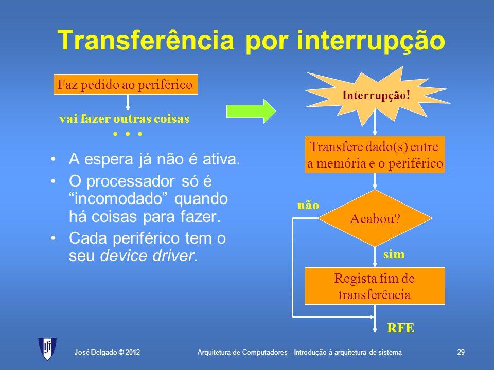 Arquitetura de Computadores – Introdução à arquitetura de sistema29José Delgado © 2012 Transferência por interrupção Transfere dado(s) entre a memória