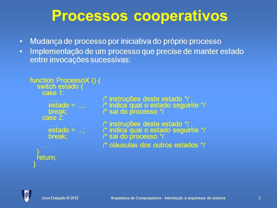 Arquitetura de Computadores – Introdução à arquitetura de sistema4José Delgado © 2012 Espera não bloqueante Não se deve fazer: ; rotina que implementa o processo 1 proc1:Lê posição de memória CMP valor pretendido; vê se valor é o esperado JNZproc1; se ainda não é, vai tentar de novo...; a fazer caso o valor seja o esperado RET; acabou, regressa O que se deve fazer: ; rotina que implementa o processo 1 proc1:Lê posição de memória CMP valor pretendido; vê se valor é o esperado JNZfim; se ainda não é, vai tentar de novo...; a fazer caso o valor seja o esperado fim:RET; acabou, regressa.