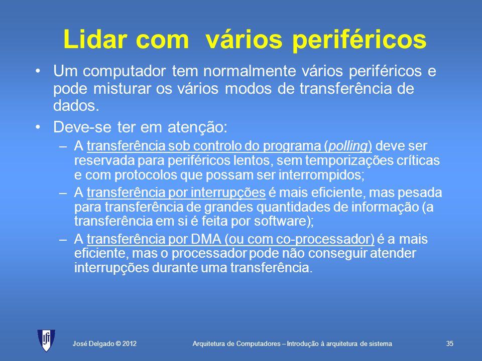 Arquitetura de Computadores – Introdução à arquitetura de sistema35José Delgado © 2012 Lidar com vários periféricos Um computador tem normalmente vári