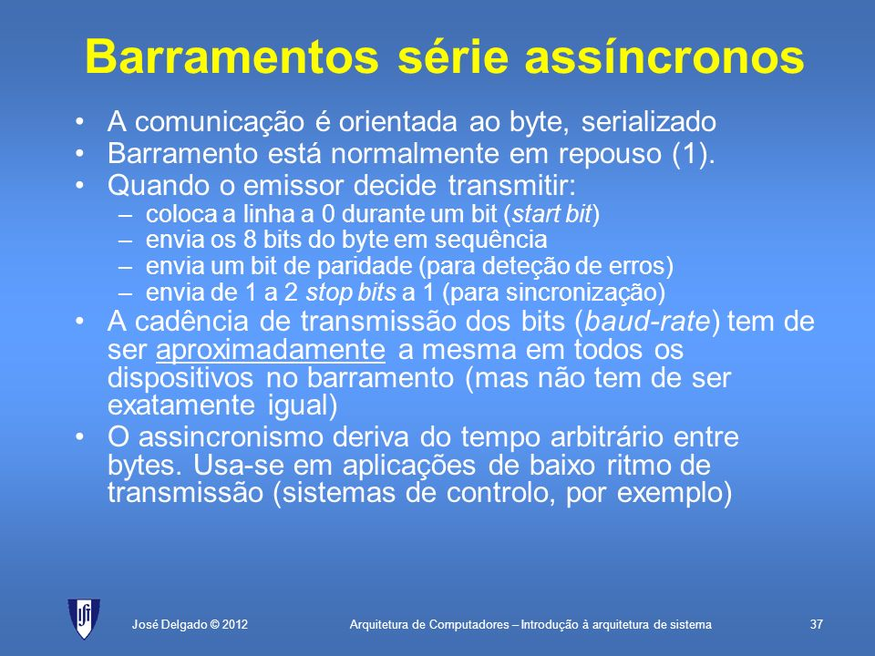 Arquitetura de Computadores – Introdução à arquitetura de sistema37José Delgado © 2012 Barramentos série assíncronos A comunicação é orientada ao byte