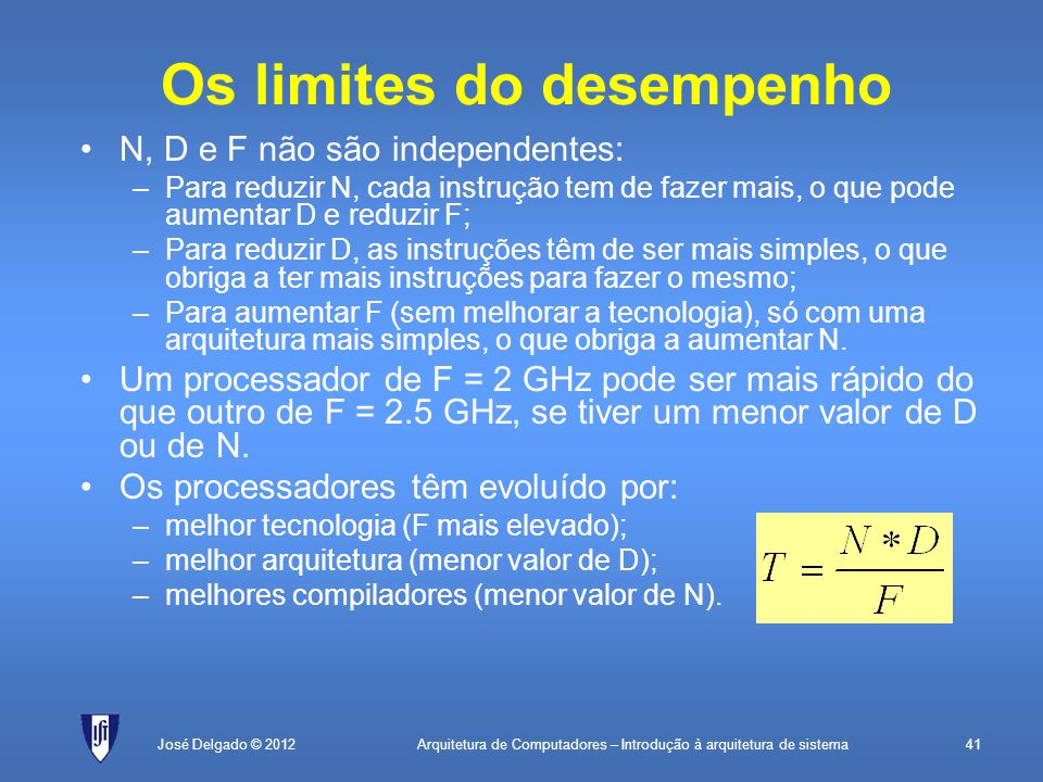Arquitetura de Computadores – Introdução à arquitetura de sistema41José Delgado © 2012 Os limites do desempenho N, D e F não são independentes: –Para
