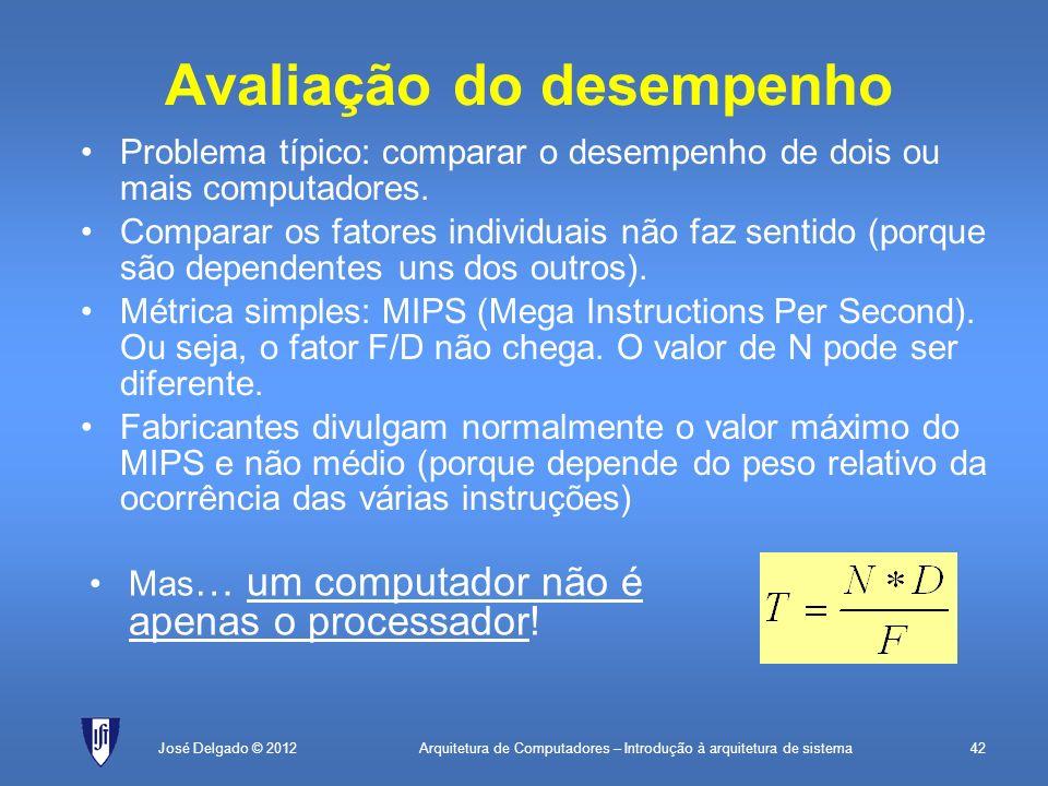 Arquitetura de Computadores – Introdução à arquitetura de sistema42José Delgado © 2012 Avaliação do desempenho Problema típico: comparar o desempenho