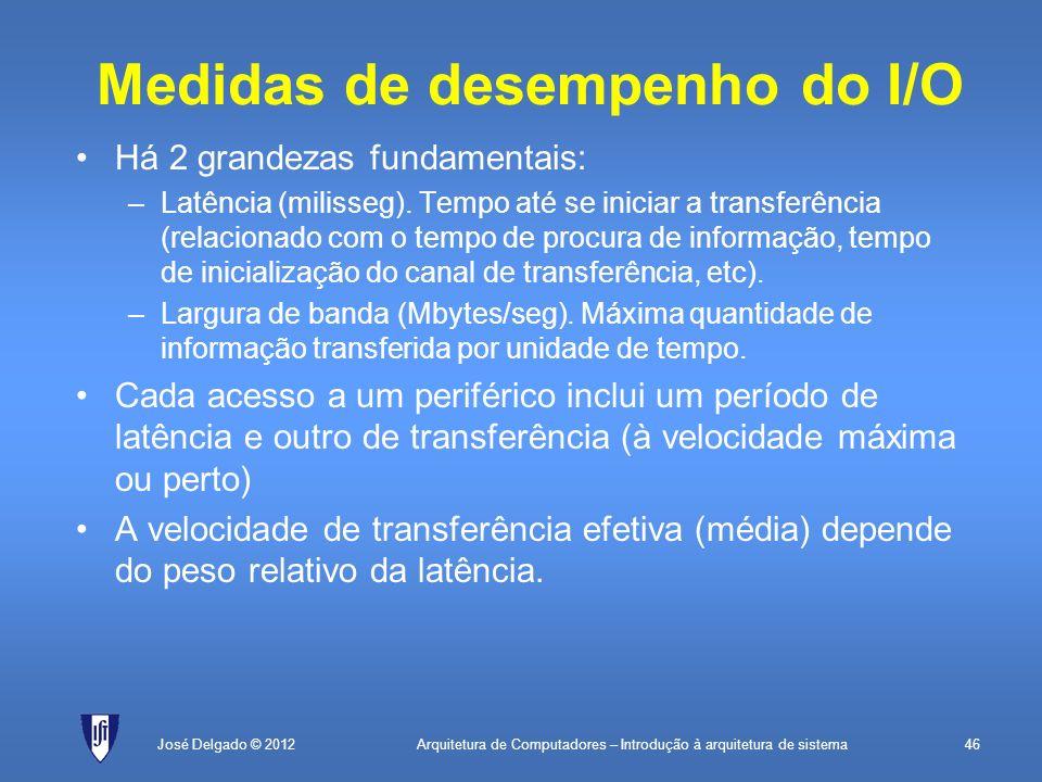 Arquitetura de Computadores – Introdução à arquitetura de sistema46José Delgado © 2012 Medidas de desempenho do I/O Há 2 grandezas fundamentais: –Latê