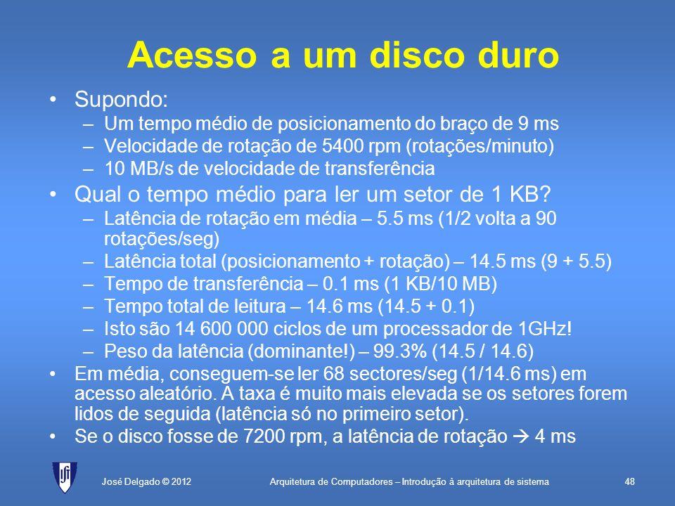 Arquitetura de Computadores – Introdução à arquitetura de sistema48José Delgado © 2012 Acesso a um disco duro Supondo: –Um tempo médio de posicionamen