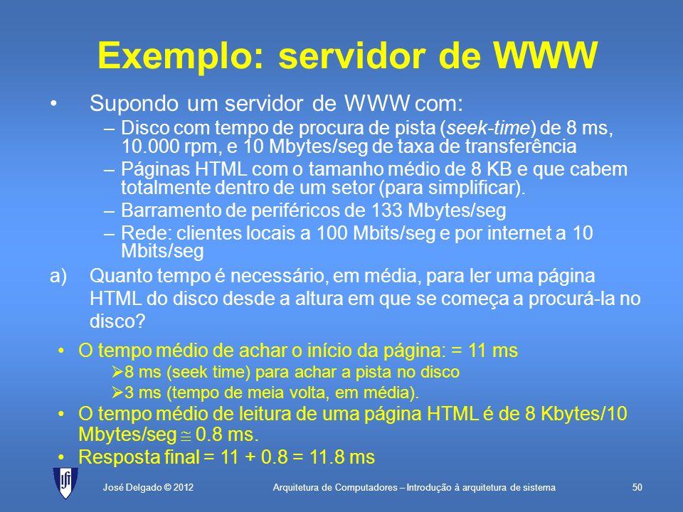 Arquitetura de Computadores – Introdução à arquitetura de sistema50José Delgado © 2012 Exemplo: servidor de WWW Supondo um servidor de WWW com: –Disco
