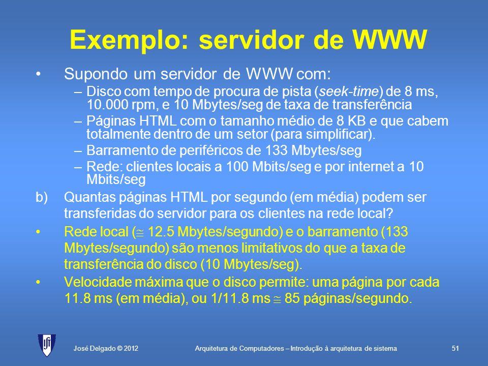 Arquitetura de Computadores – Introdução à arquitetura de sistema51José Delgado © 2012 Exemplo: servidor de WWW Supondo um servidor de WWW com: –Disco