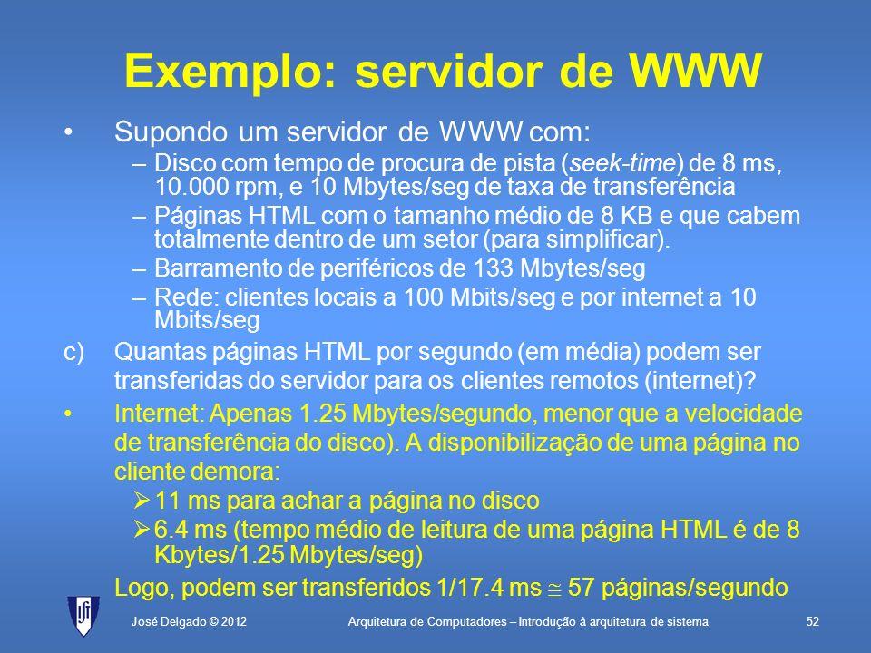 Arquitetura de Computadores – Introdução à arquitetura de sistema52José Delgado © 2012 Exemplo: servidor de WWW Supondo um servidor de WWW com: –Disco