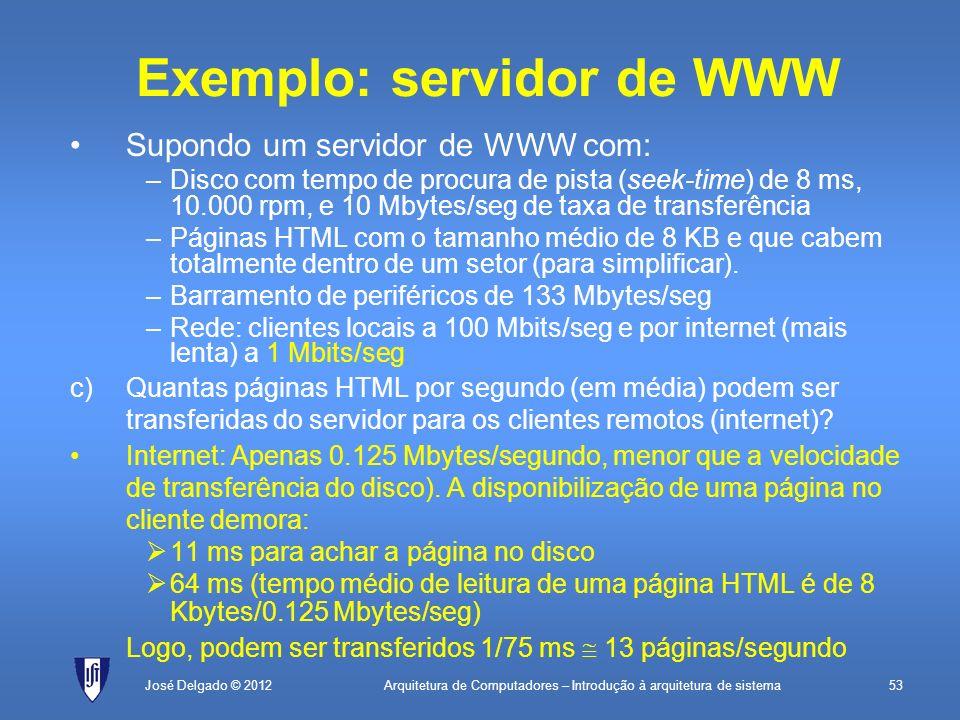 Arquitetura de Computadores – Introdução à arquitetura de sistema53José Delgado © 2012 Exemplo: servidor de WWW Supondo um servidor de WWW com: –Disco