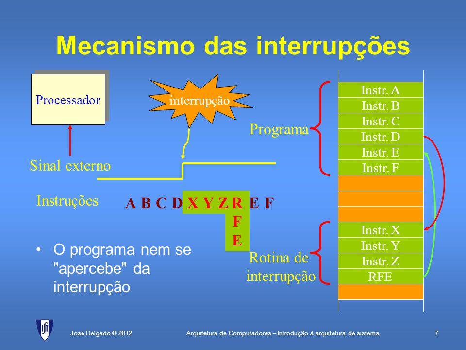 Arquitetura de Computadores – Introdução à arquitetura de sistema38José Delgado © 2012 Comunicação série assíncrona 21034567 Dado (8 bits) Start bit Bit de paridade Stop bitsRepouso Emissor: 21034567 Começa a receção Amostra sinal de entrada (várias vezes em cada bit) É possível haver ligeiros escorregamentos Recetor:
