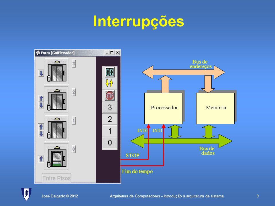 Arquitetura de Computadores – Introdução à arquitetura de sistema20José Delgado © 2012 Rotina de interrupção (flanco) PLACE2000H tab:WORDrot0; tabela de interrupções PLACE0 MOVBTE, tab; incializa BTE MOVSP, 1000H; incializa SP MOVR0, 0; inicializa contador EI0; permite interrupções EI fim:JMPfim; fica à espera rot0:; rotina de interrupção PUSHR1; guarda R1 MOVR1, 8000H; endereço do periférico ADDR0, 1; incrementa contador MOVB[R1], R0; atualiza mostrador POPR1; repõe R1 RFE; regressa