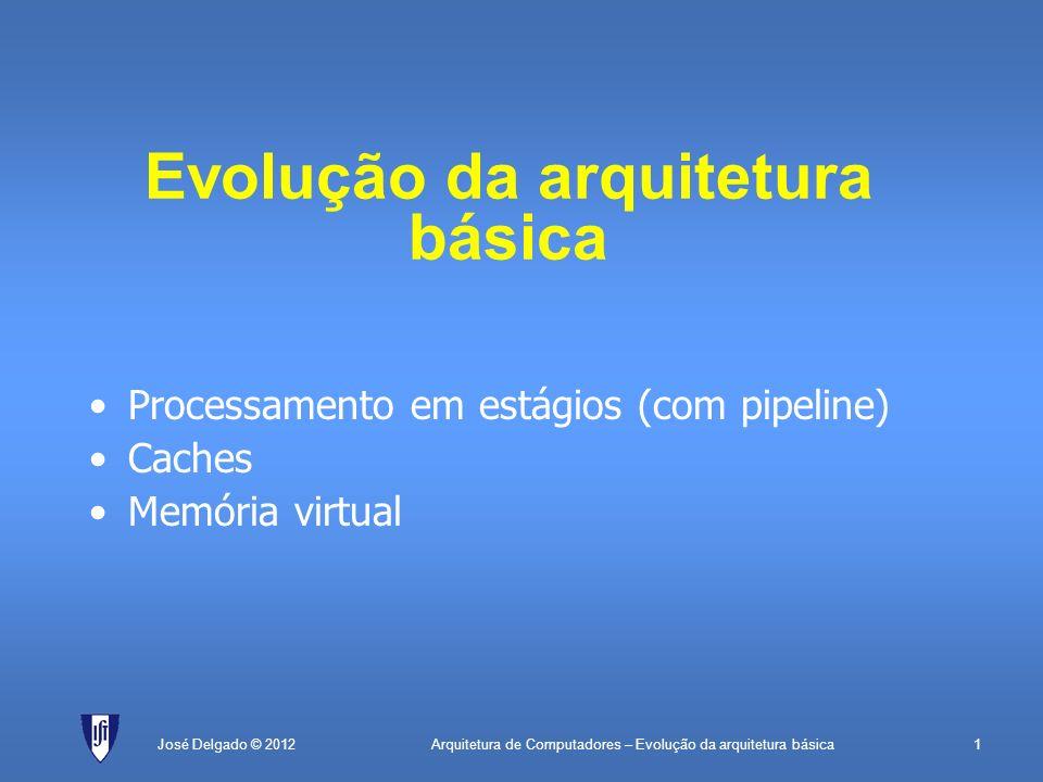 Arquitetura de Computadores – Evolução da arquitetura básica1José Delgado © 2012 Evolução da arquitetura básica Processamento em estágios (com pipelin