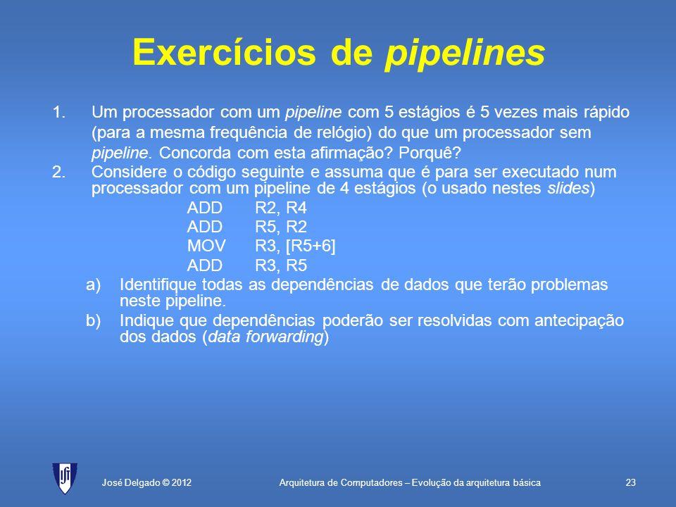 Arquitetura de Computadores – Evolução da arquitetura básica23José Delgado © 2012 Exercícios de pipelines 1.Um processador com um pipeline com 5 estág