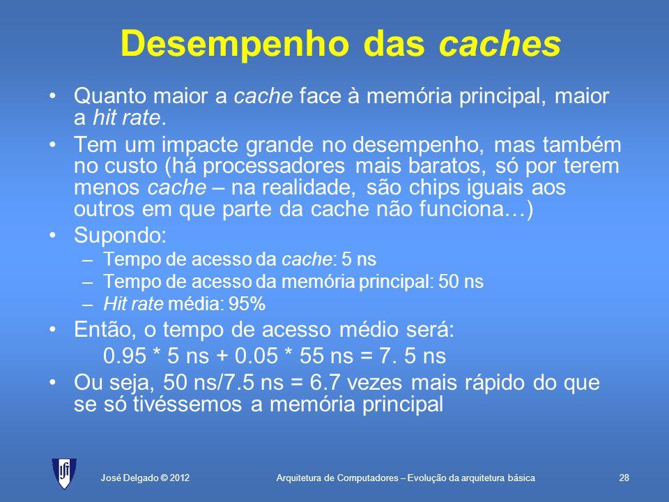 Arquitetura de Computadores – Evolução da arquitetura básica28José Delgado © 2012 Desempenho das caches Quanto maior a cache face à memória principal,