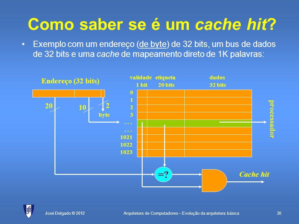 Arquitetura de Computadores – Evolução da arquitetura básica30José Delgado © 2012 Como saber se é um cache hit? Exemplo com um endereço (de byte) de 3