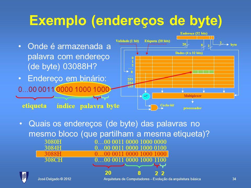Arquitetura de Computadores – Evolução da arquitetura básica34 Quais os endereços (de byte) das palavras no mesmo bloco (que partilham a mesma etiquet