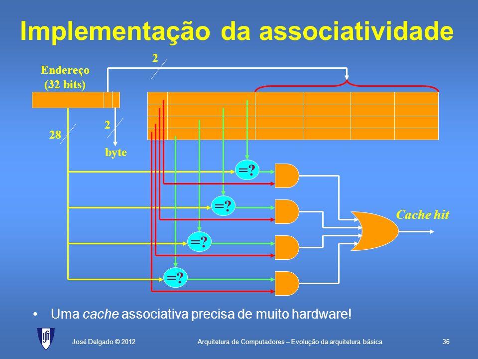 Arquitetura de Computadores – Evolução da arquitetura básica36José Delgado © 2012 Implementação da associatividade =? 28 Cache hit Endereço (32 bits)