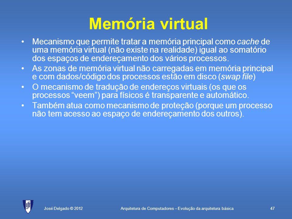 Arquitetura de Computadores – Evolução da arquitetura básica47José Delgado © 2012 Memória virtual Mecanismo que permite tratar a memória principal com