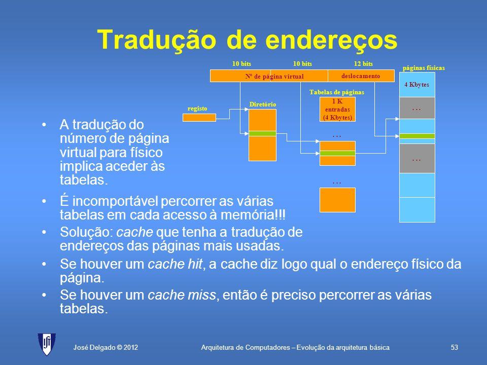 Arquitetura de Computadores – Evolução da arquitetura básica53José Delgado © 2012 Tradução de endereços A tradução do número de página virtual para fí